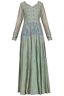 Bluish green block printed anarkali gown with dupatta
