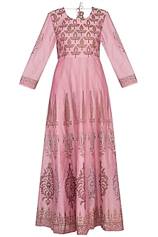 Onion pink block printed anarkali with dupatta