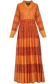 Burnt orange block printed anarkali gown