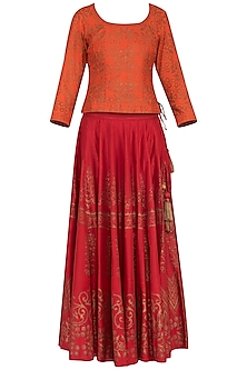 Orange and red block printed lehenga set