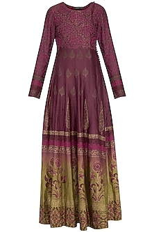 Wine and olive ombre block printed anarkali gown with dupatta
