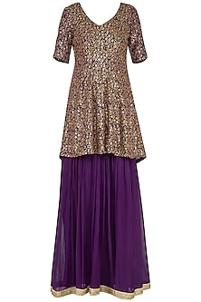 Purple embroidered peplum anarkali gown with dupatta by Abhi Singh