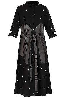 Black Printed Embroidered Dress by Abhi Singh
