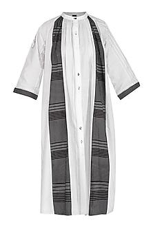 White & Black Paneled Dress by Abhi Singh