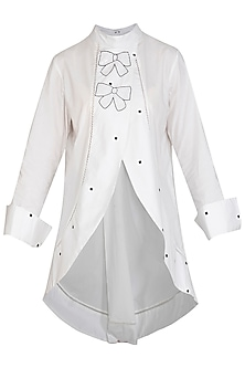 White Pleated Embroidered Tunic by Abhi Singh