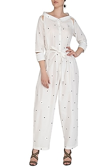 White Printed Jumpsuit by Abhi Singh