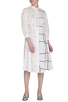 White Embroidered Checks & Dotted Midi Dress by Abhi Singh