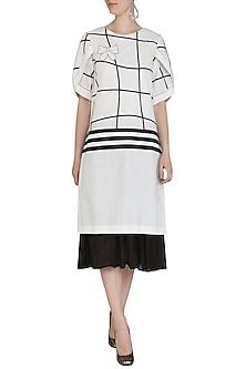 White Embroidered Checks Layered Tunic by Abhi Singh
