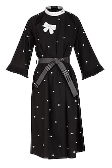 Black Printed Dress With Belt by Abhi Singh