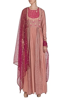 Rose Pink Embroidered Anarkali With Dupatta by Abhi Singh