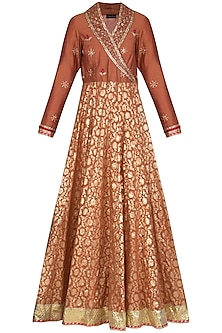 Red Embroidered Anarkali With Dupatta by Abhi Singh