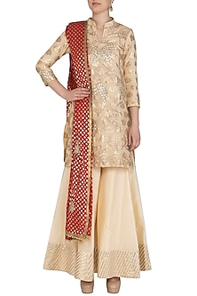 Off White & Coral Embroidered Sharara Set by Abhi Singh