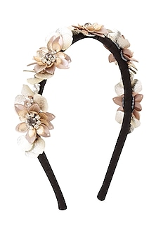 White and Silver Sequins and Crystal Embellished Woven Hairband by Studio Accessories
