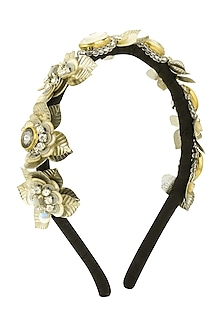 White and Peach Sequins and Crystal Embellished Woven Hairband by Studio Accessories