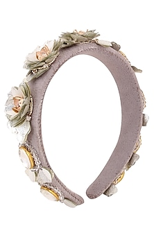 Grey and Green Sequins and Crystal Embellished Woven Hairband by Studio Accessories