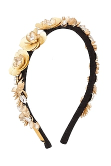 Golden Floral Sequins and Crystal Embellished Woven Hairband by Studio Accessories