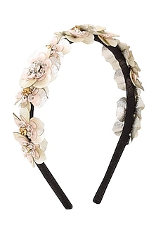 White Floral Sequins and Crystal Embellished Woven Hairband by Studio Accessories