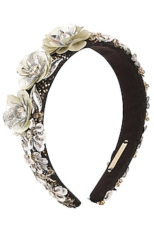 Grey Sequins and Crystal Floral Motifs Woven Hairband by Studio Accessories