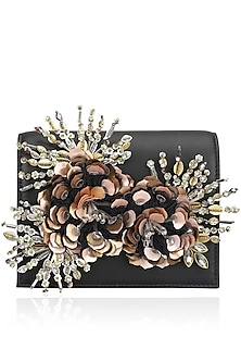 Black Crystal and Sequins Floral Motif Clutch by Studio Accessories