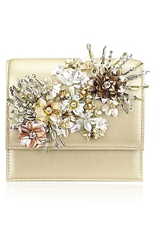Beige Crystal and Sequins Floral Motif Clutch by Studio Accessories