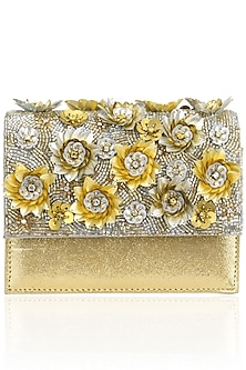 Gold Crystal and Sequins Floral Motif Jaal Clutch by Studio Accessories