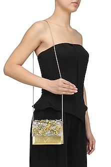 Gold Crystal and Sequins Floral Motif Jaal Clutch