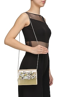 Biege and Gold Sequins Floral Motif Clutch