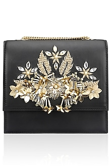 Black and Gold Crystal and Sequins Floral Motif Clutch by Studio Accessories