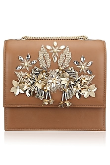 Tan and Gold Crystal and Sequins Floral Motif Clutch by Studio Accessories