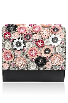 Black Beads Floral Motif Jaal Clutch by Studio Accessories
