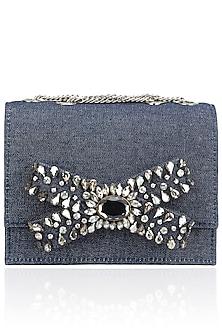 Blue Denim Beads Bow Design Clutch by Studio Accessories