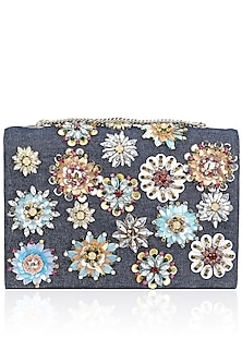 Black and Denim Floral Motif Clutch Bag by Studio Accessories
