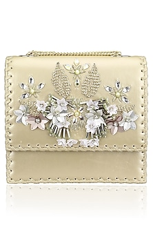 Gold and Silver Floral Motif Clutch Bag by Studio Accessories