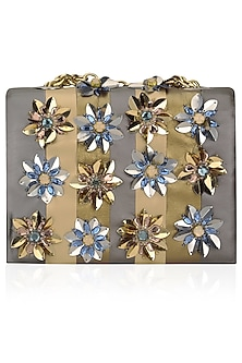 Gold and Silver Stripes Floral Embellished Clutch Bag by Studio Accessories