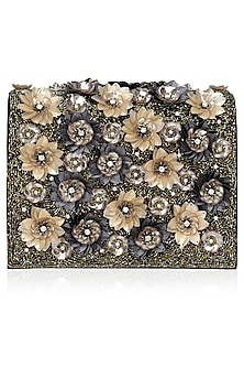 Black and Gold Crystal and Sequins Embellished Clutch Bag by Studio Accessories