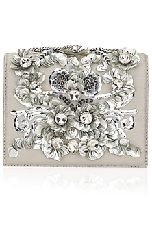 Grey Crystal and Sequins Embellished Clutch Bag by Studio Accessories