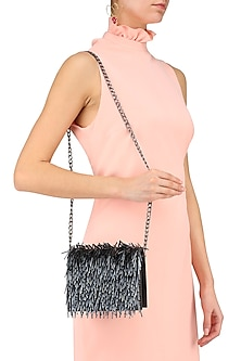 Black Pipe and Beads Embroidered Fringe Clutch by Studio Accessories