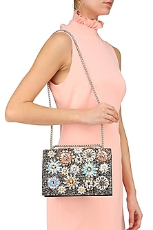 Multicolor Crystal and Sequins Floral Bag by Studio Accessories
