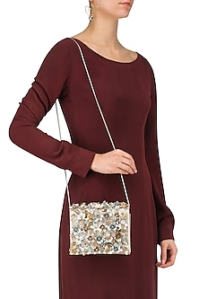 Multicolor Crystals and Sequinned Flowers Embellished Clutch Bag by Studio Accessories