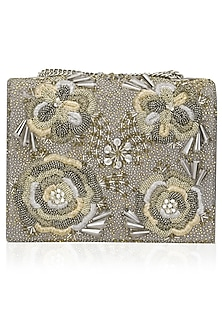 Grey Floral Embellished Clutch Bag by Studio Accessories