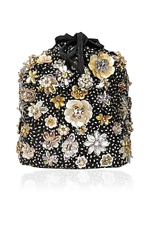 Black Crystal and Sequinned Flowers Embellished Potli Bag by Studio Accessories
