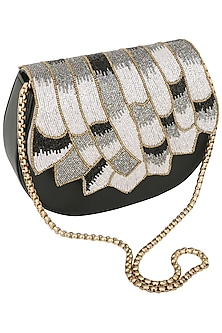 Black Multi Color Beads Embellished Clutch by Studio Accessories