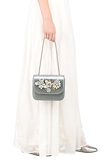 Silver Crystals and Sequins Embellished Clutch by Studio Accessories