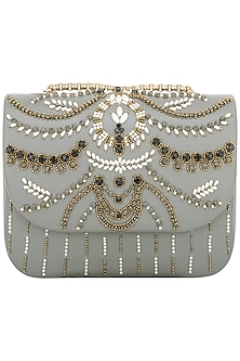 Grey Beads Embellished Clutch by Studio Accessories