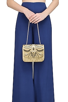 Golden Beads and Crystals Embellished Clutch
