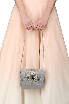 Grey Hand Beaded Clutch