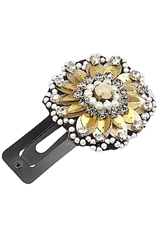 Black Leather Sequins and Crystal Embellished Hairclip by Studio Accessories