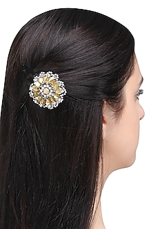 Black Leather Sequins and Crystal Embellished Hairclip
