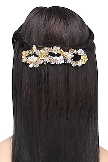 Gold and Silver Sequins and Crystal Embellished Hairclip