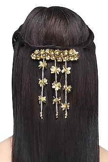 Gold Waterfall Sequins and Crystal Embellished Hairclip by Studio Accessories